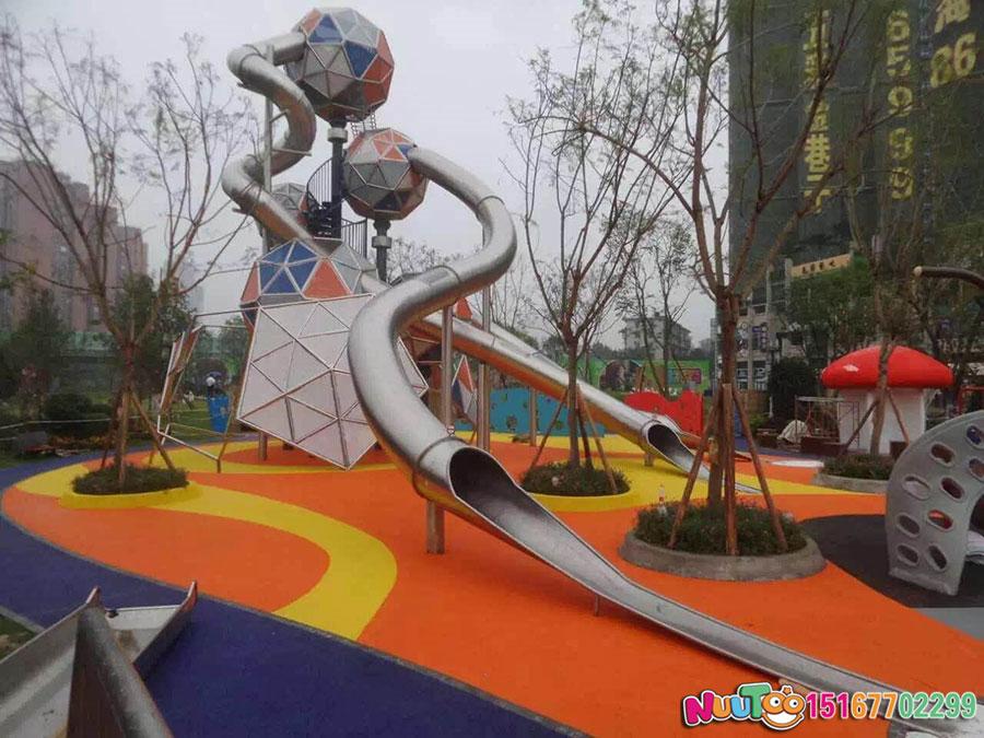 非标游乐+大型组合滑梯南京万科不锈钢大滑梯 (18)