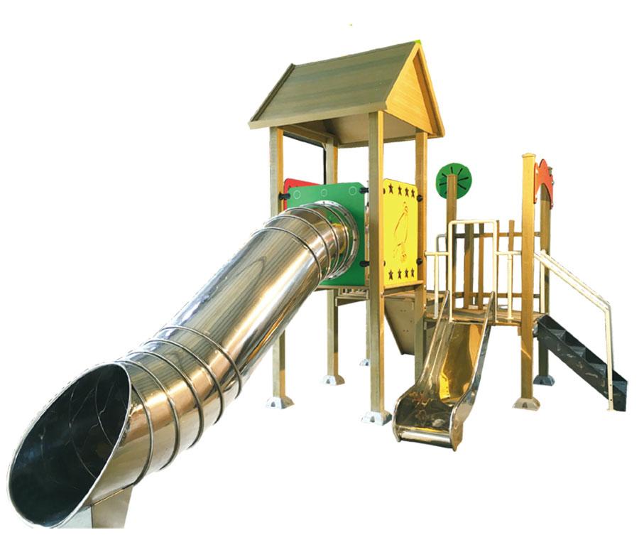 组合滑梯+游乐设备+小博士+滑梯+原木滑梯+不锈钢组合滑梯42