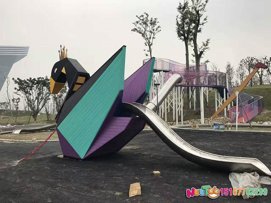 非标游乐+成都高投走廊及不锈钢大滑梯+天鹅组合滑梯 (11)