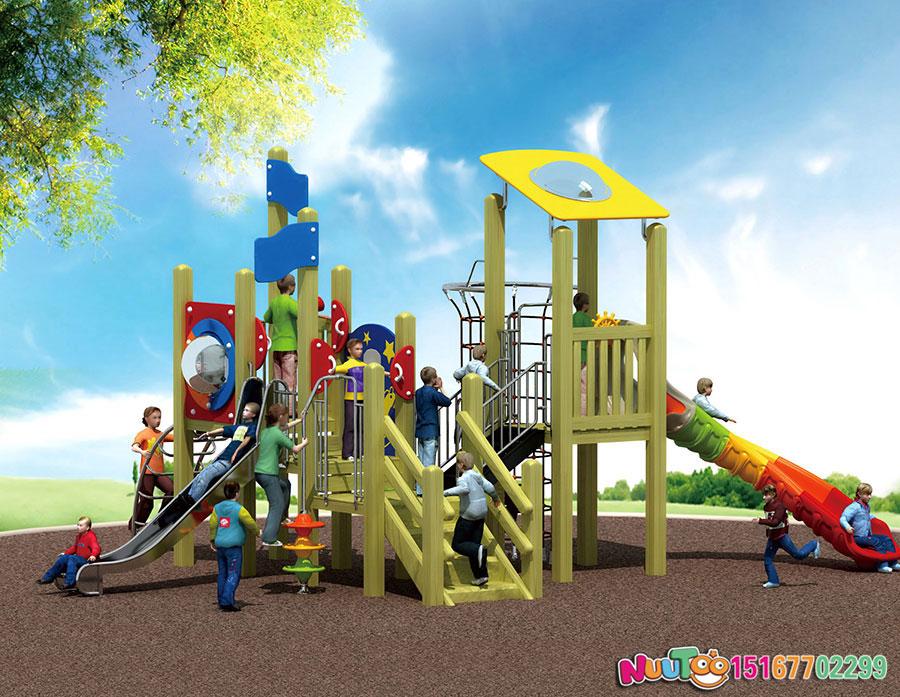 实木组合滑梯+原木组合滑梯+组合滑梯+儿童组合滑梯+小区组合滑梯-(4)