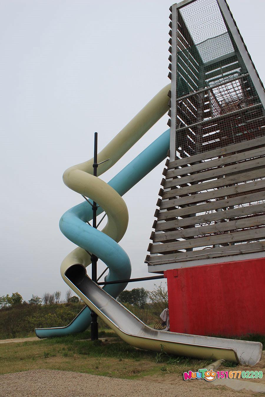 非标游乐+双子塔组合滑梯+儿童乐园设备+不锈钢滑梯案例 (21)